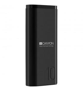 CANYON Power bank 10000mAh Li-poly battery, Input 5V/2A, Output 5V/2.1A, with Smart IC, Black, USB cable length 0.25m, 120*52*22