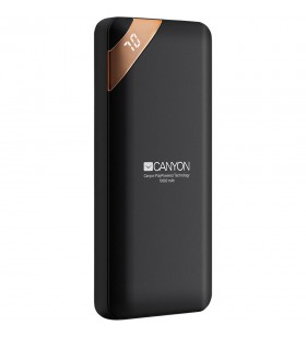 CANYON Power bank 10000mAh Li-poly battery, Input 5V/2A, Output 5V/2.1A(Max), with Smart IC and power display, Black, USB cable