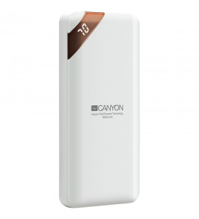 CANYON Power bank 10000mAh Li-poly battery, Input 5V/2A, Output 5V/2.1A(Max), with Smart IC and power display, White, USB cable