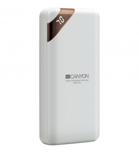 CANYON Power bank 20000mAh  Li-poly battery, Input 5V/2A, Output 5V/2.1A(Max), with Smart IC and power display, White, USB cable