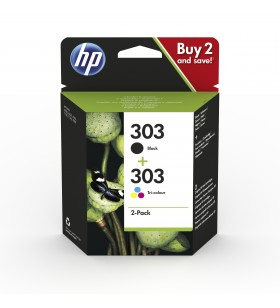 HP 303 cartușe cu cerneală 2 buc. Original Productivitate Standard Negru, Cyan, Magenta, Galben