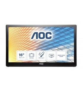 """AOC E1659FWU LED display 39,6 cm (15.6"""") 1366 x 768 Pixel Negru"""