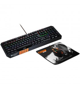 CANYON 3in1 Gaming set, Keyboard with rainbow LED(104 keys), Mouse with RGB(DPI 800/1600/3200/4200), Mouse Mat with size 350*250