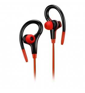 Canyon stereo sport earphones with microphone, 1.2m flat cable, red