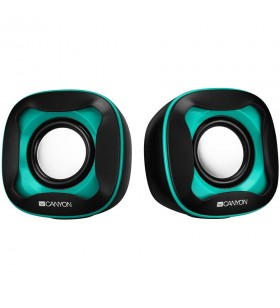 USB 2.0 Speaker, black+light blue 7472C, 2*3W 4 Ohm, ABS, 1.2m cable with USB2.0 & 3.5mm audio connector.