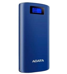 "POWER BANK ADATA 20000mAh, 2 x USB, digital display pt. status baterie, P20000D 20.000 mAh, total 2.1A, blue, ""AP20000D-DGT-5V-"
