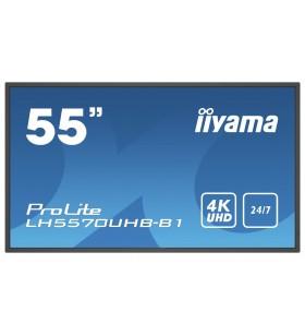 "iiyama LH5570UHB-B1 Afișaj Semne Panou informare digital de perete 138,7 cm (54.6"") VA 4K Ultra HD Negru Procesor încorporat"