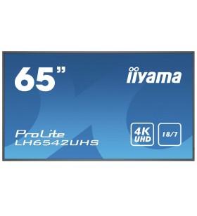 "iiyama LH6542UHS-B3 Afișaj Semne Panou informare digital de perete 163,8 cm (64.5"") IPS 4K Ultra HD Negru Procesor încorporat"