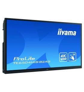 "iiyama TE6504MIS-B2AG Afișaj Semne Ecran plat interactiv 165,1 cm (65"") IPS 4K Ultra HD Negru Ecran tactil Procesor încorporat"