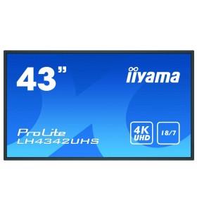 "iiyama LH4342UHS-B3 Afișaj Semne Panou informare digital de perete 108 cm (42.5"") IPS 4K Ultra HD Negru Procesor încorporat"